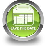 Save the date glossy green round button